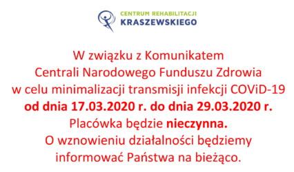 KOMUNIKAT Z DNIA 16.03.2020